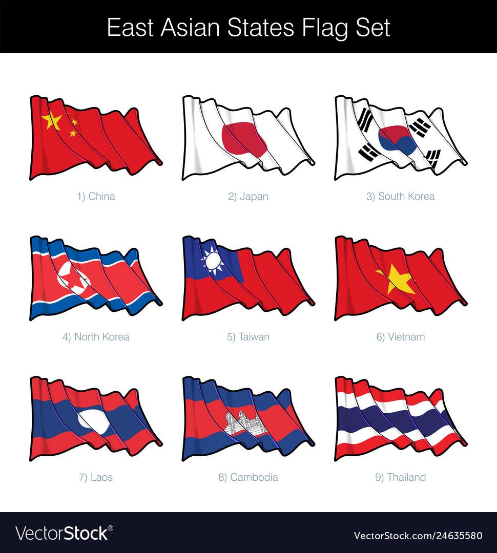 East asian states waving flag set
