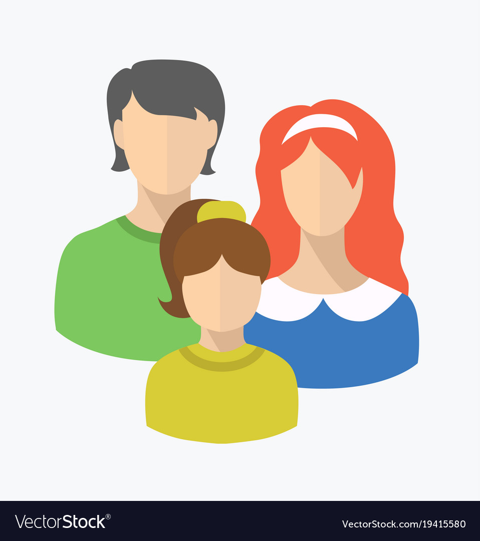Flat style couple with child