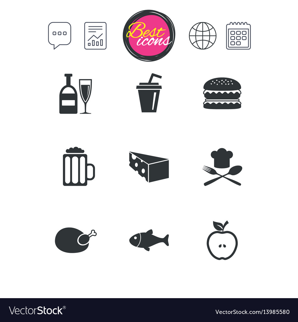 Food drink icons beer fish and burger signs vector image