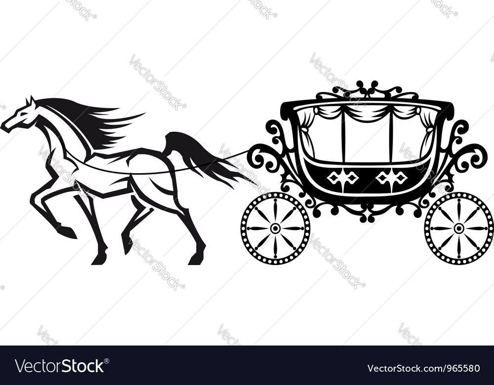 Horse with vintage carriage vector image