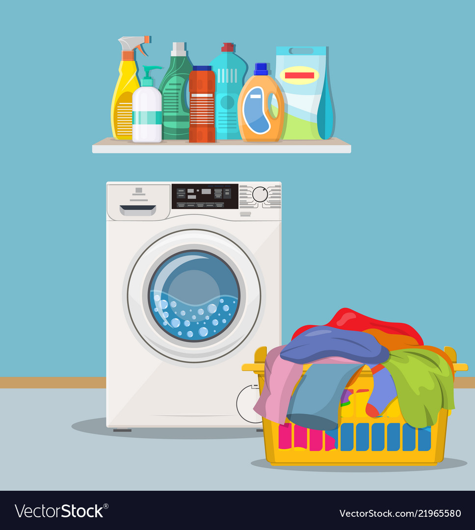 Laundry room with washing machine Royalty Free Vector Image