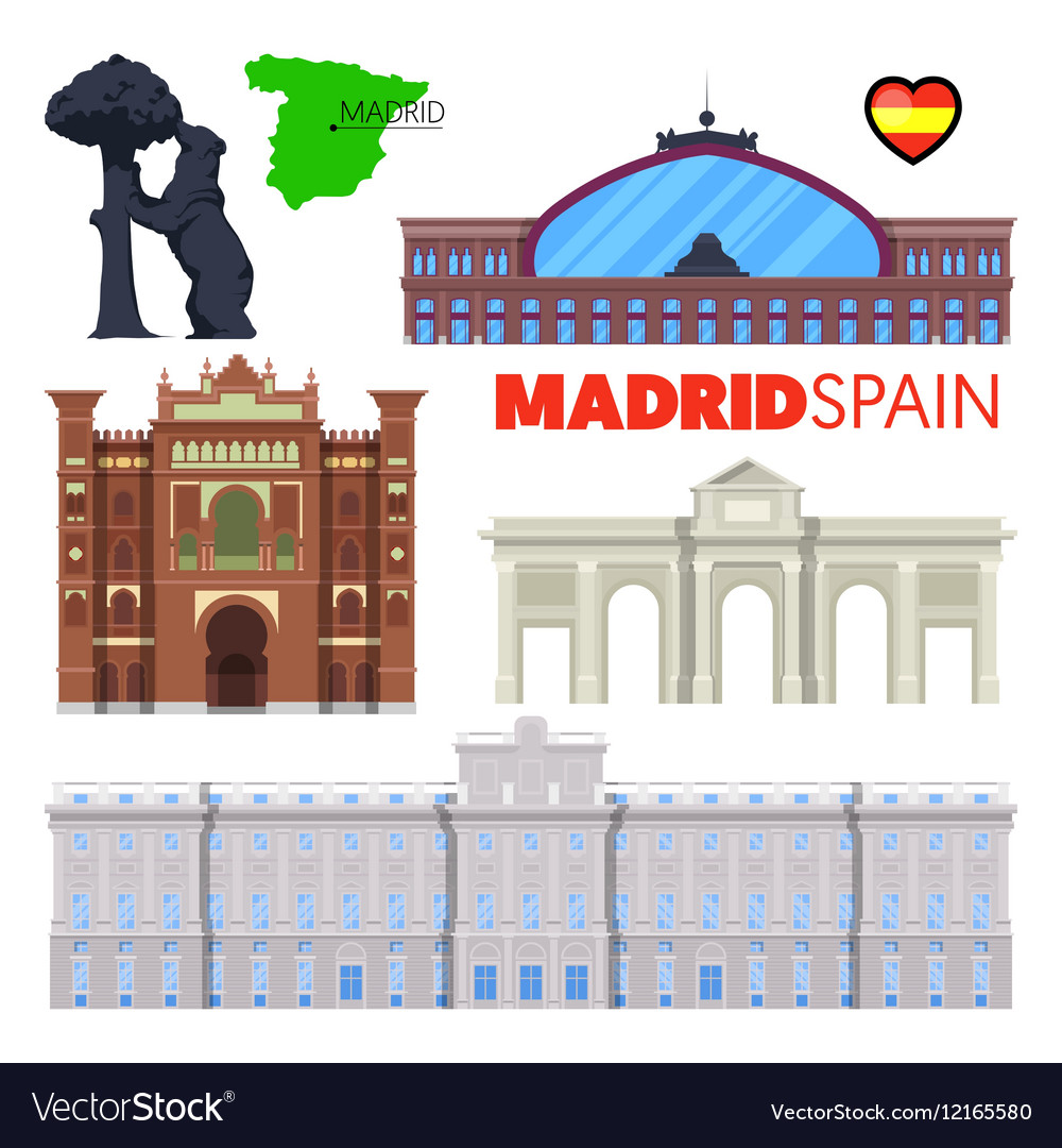 Madrid Spain Travel Doodle with Architecture