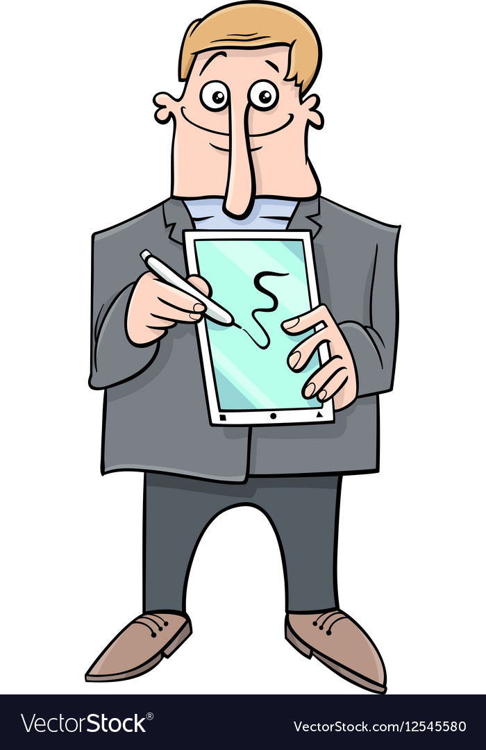 Man presenting tablet pc vector image