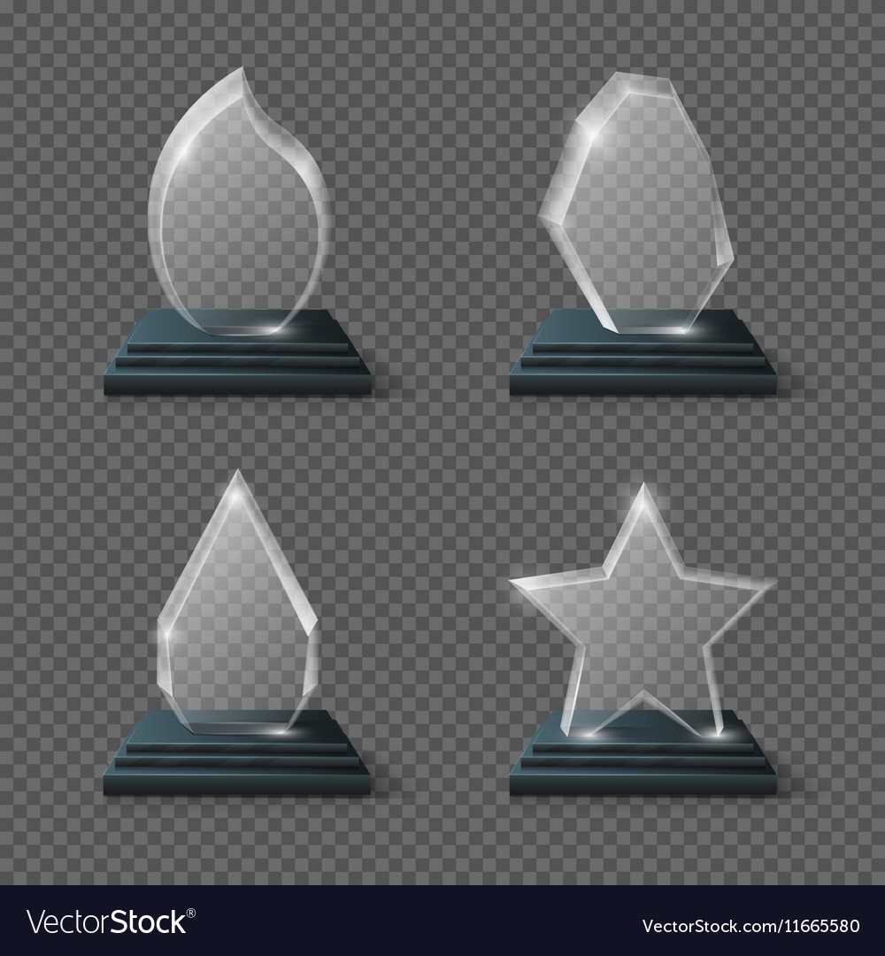 Realistic Crystal Trophy Glass Awards Set Vector Image