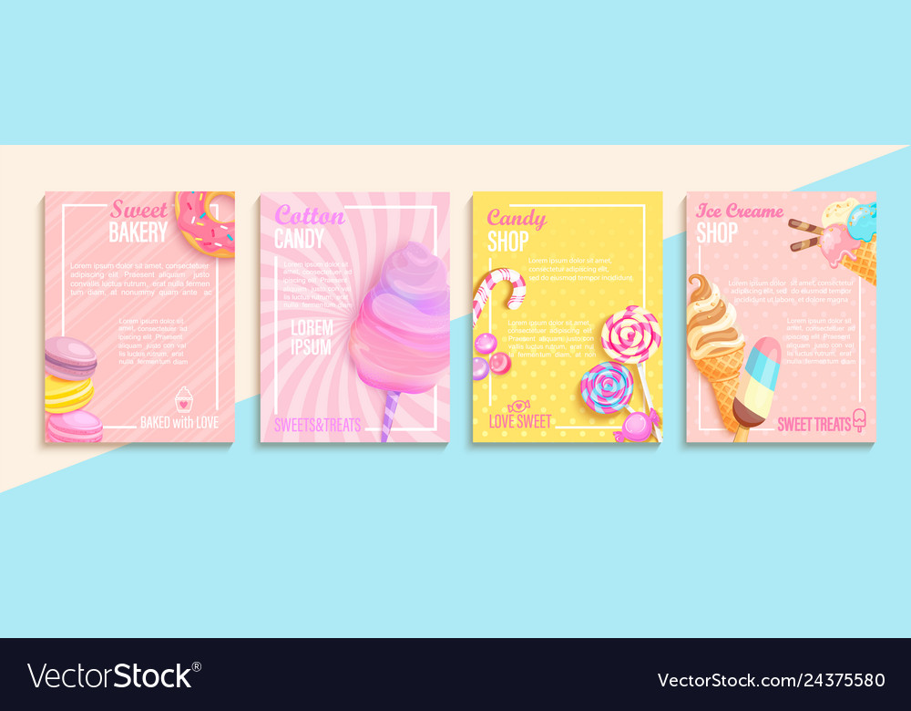 Set of bakerycandycotton candyice cream flyers