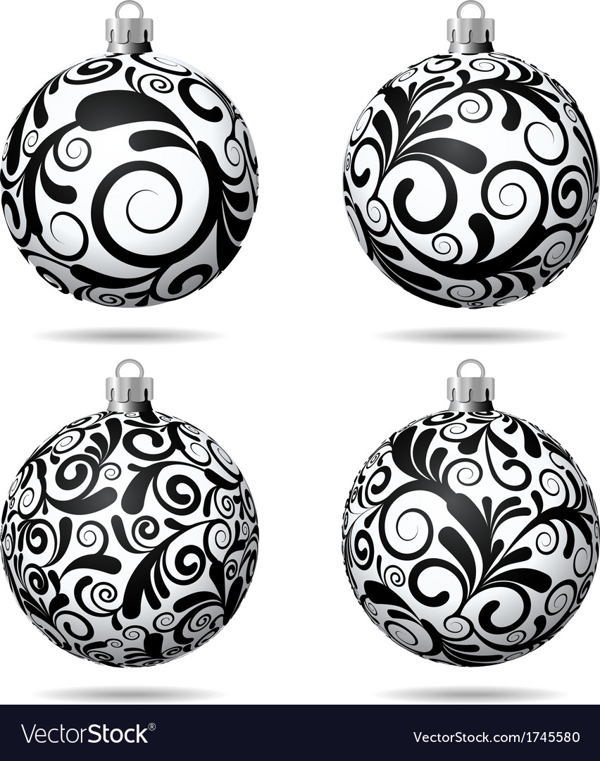 set of black and white christmas balls vector image - White Christmas Balls