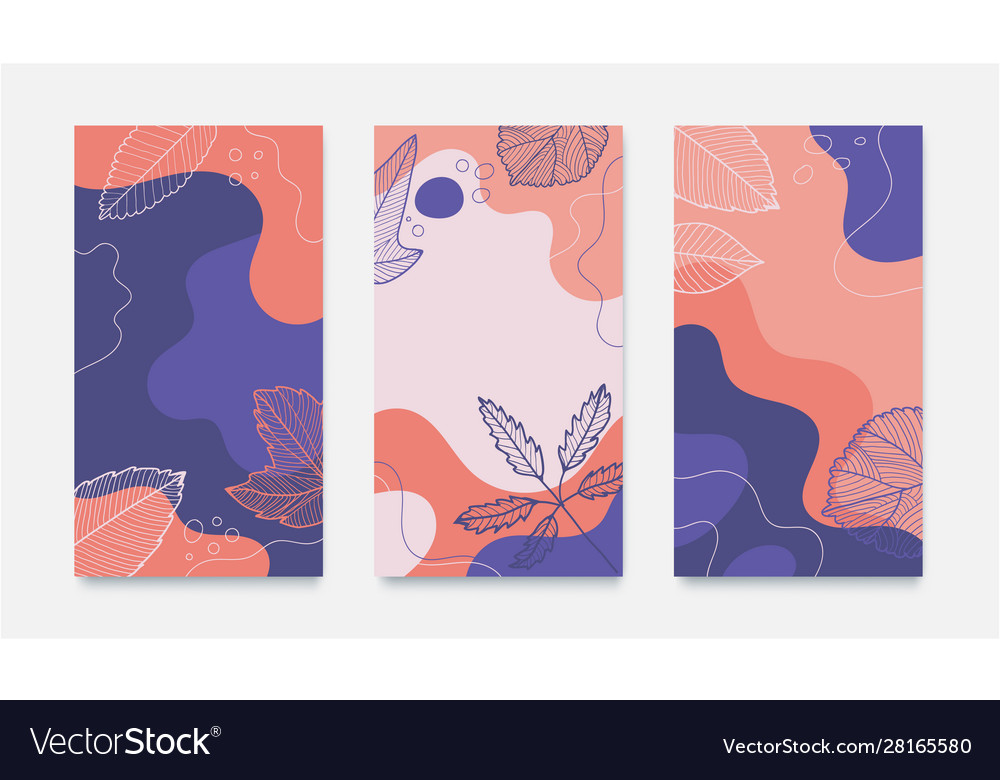 Set wavy abstract autumn banners hand