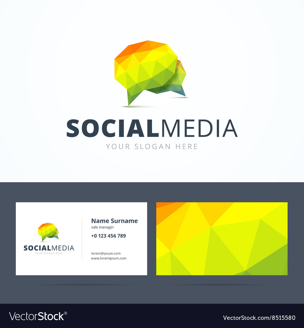social media logo and business card template vector image