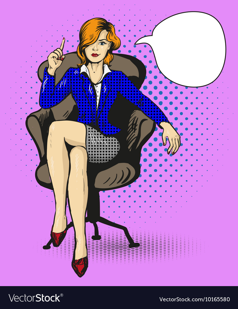 Successful business woman sit in chair