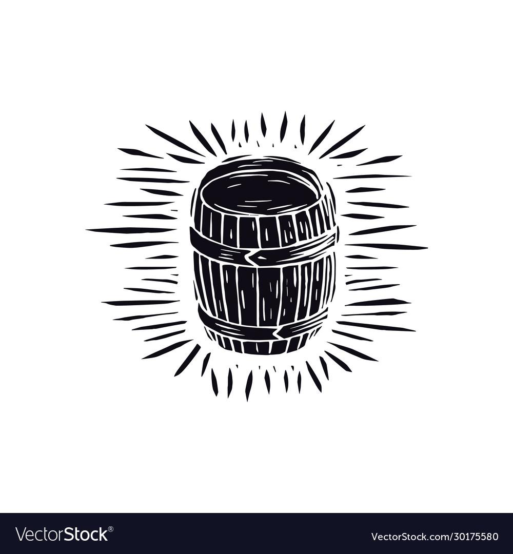 Wood barrel in linocut style