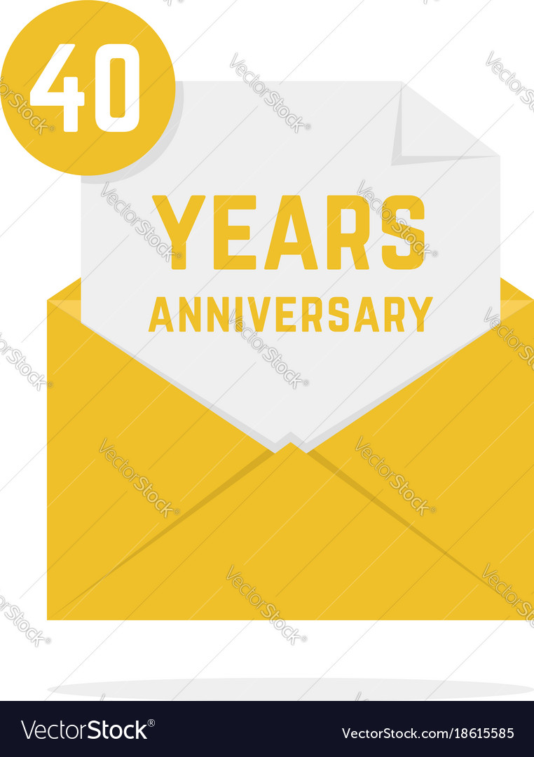 40 years anniversary icon in golden letter