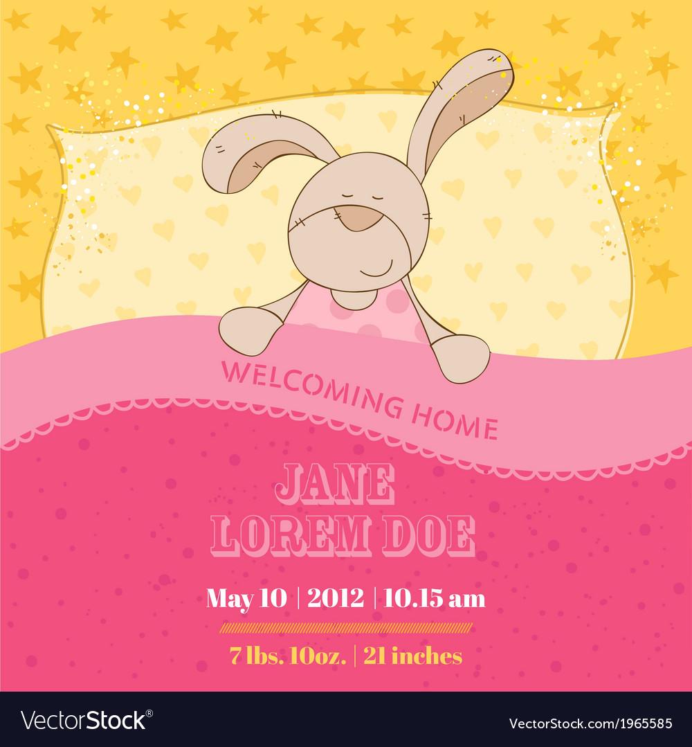 Baby arrival card - sleeping bunny