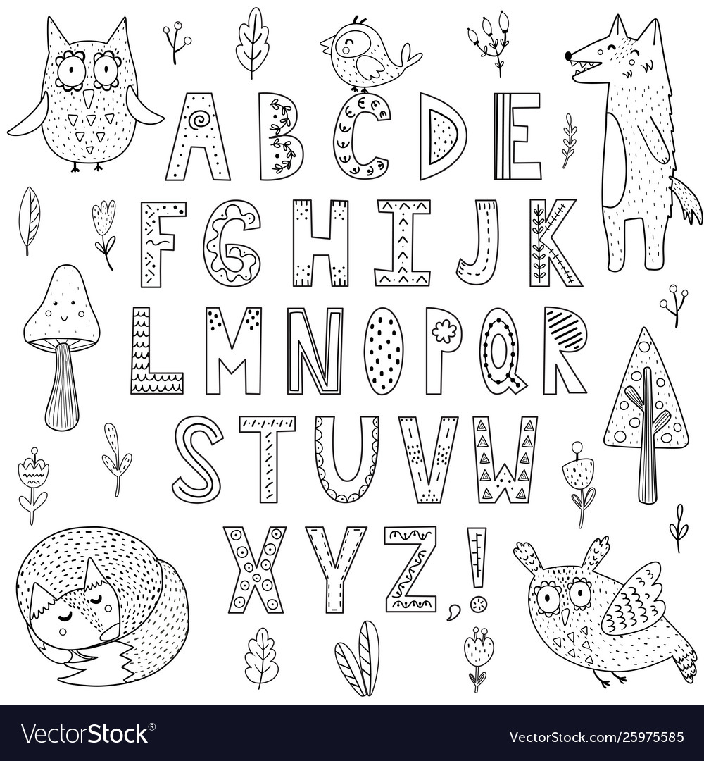 Black and white alphabet with forest animals