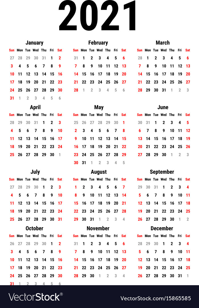 Calendar for 2021 Royalty Free Vector Image - VectorStock