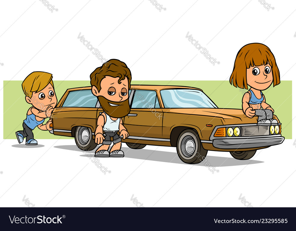 Cartoon boy and girl character with long retro car