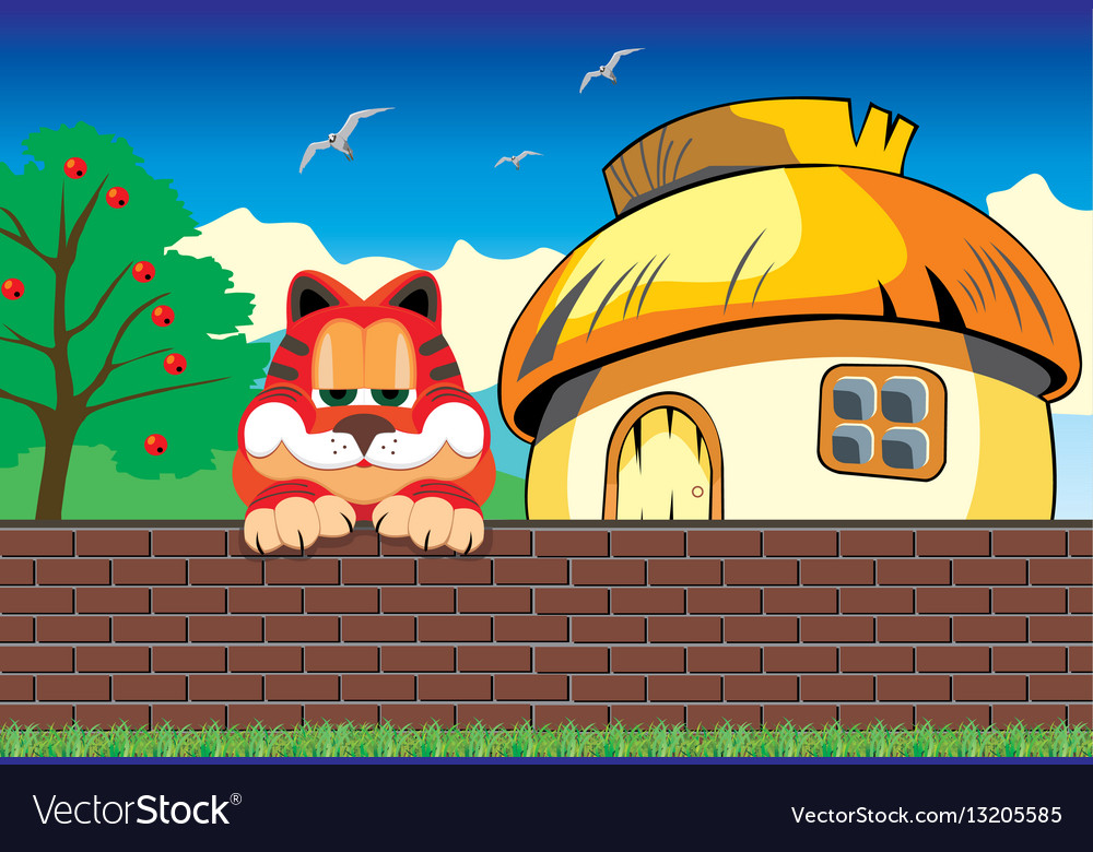 Cartoon landscape cat on the fence hut outside