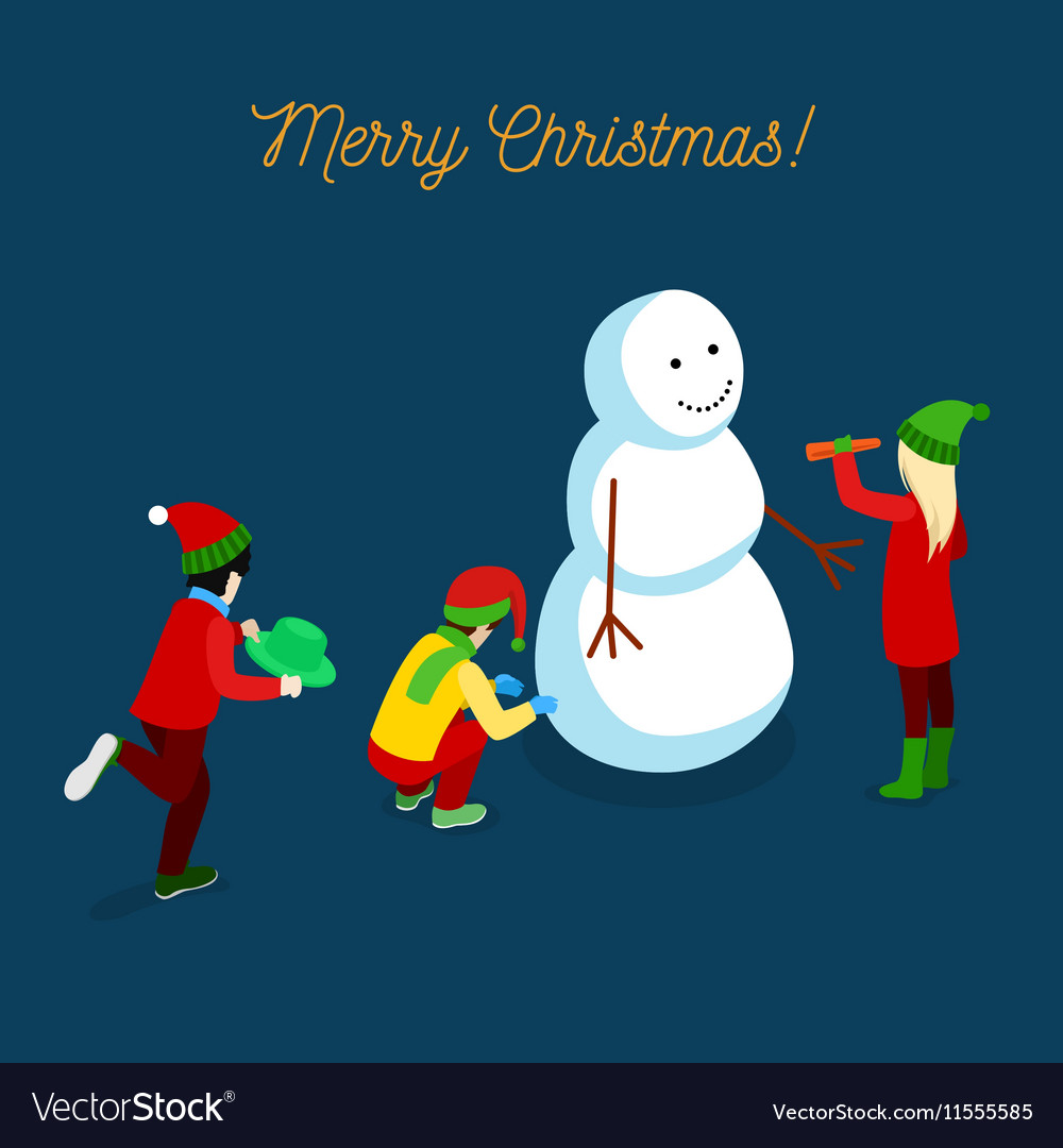 Christmas Isometric Greeting Card with Snowman