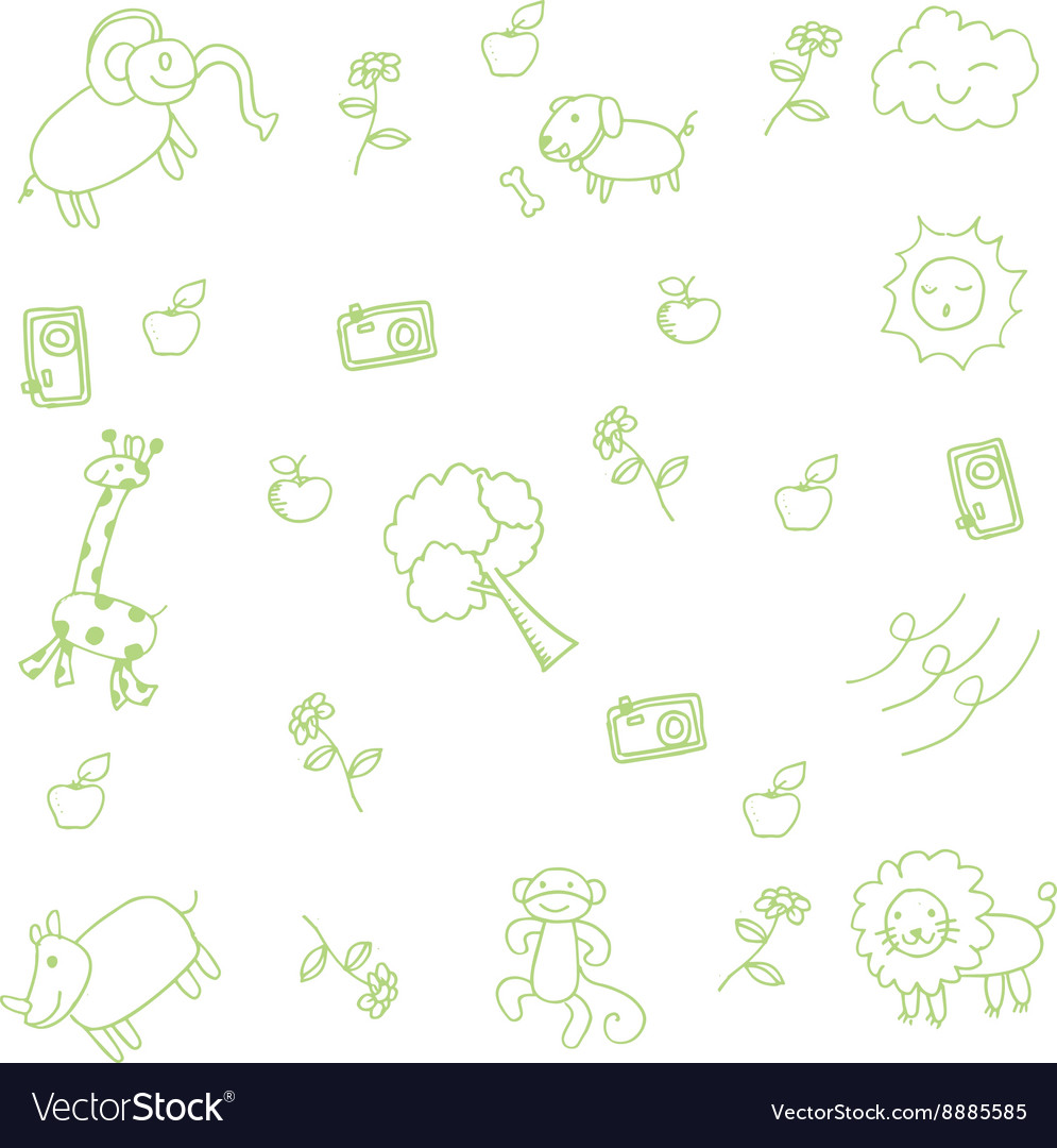 Cute animal for kids doodle art vector image