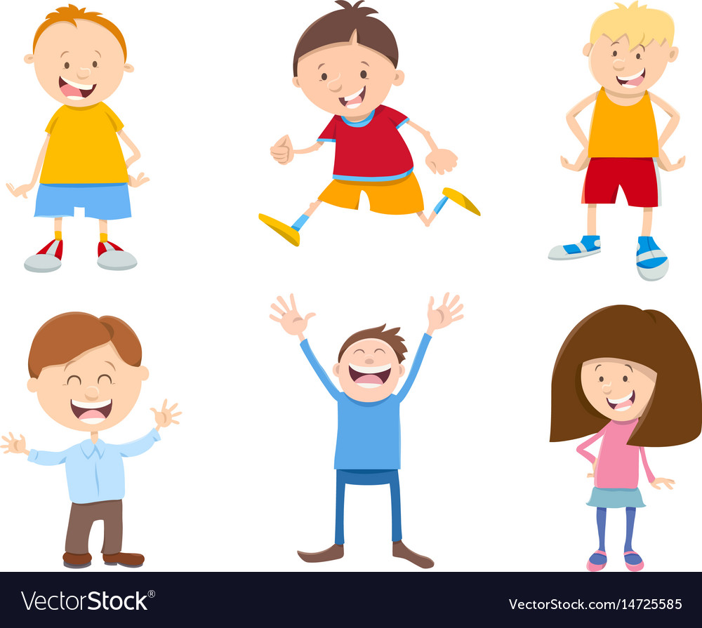 Cute cartoon children set