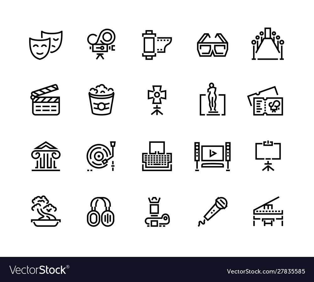 Entertainment line icons cinema and theater sound