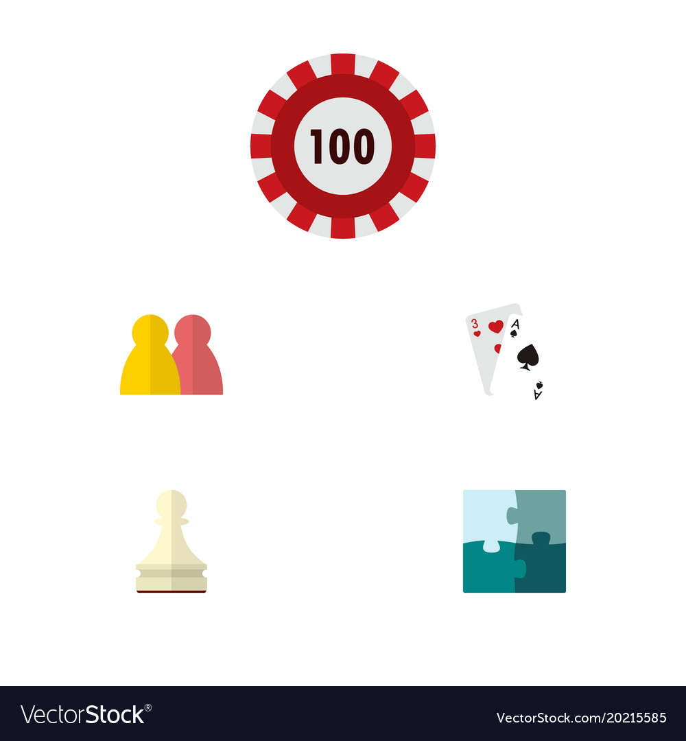 Icon flat play set of gambling cards puzzle