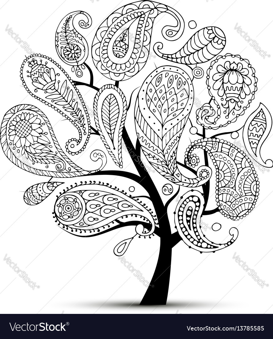 Paisley ornament art tree sketch for your design