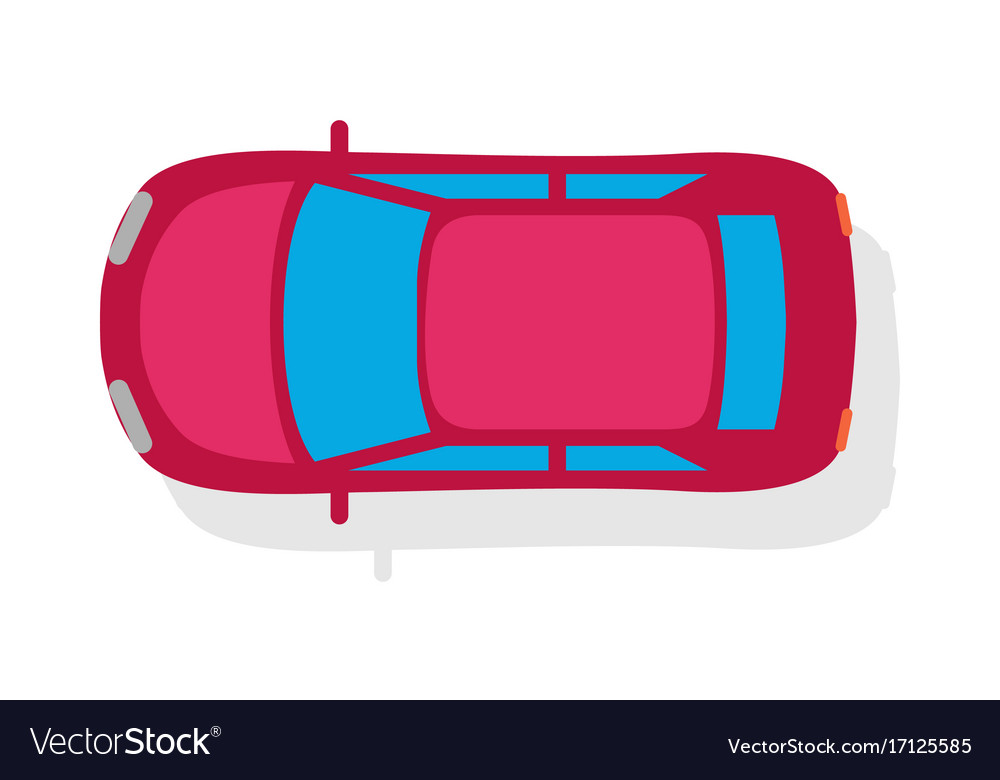 Passenger Car Top View Flat Style Icon Royalty Free Vector
