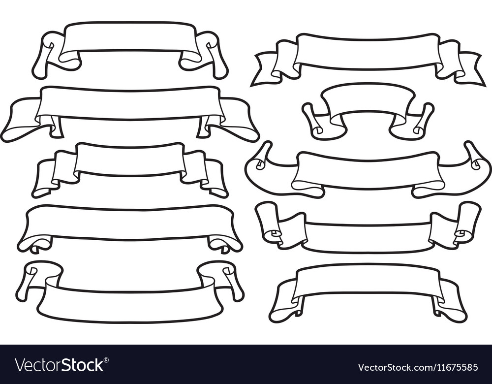 Ribbons set on a white background line art