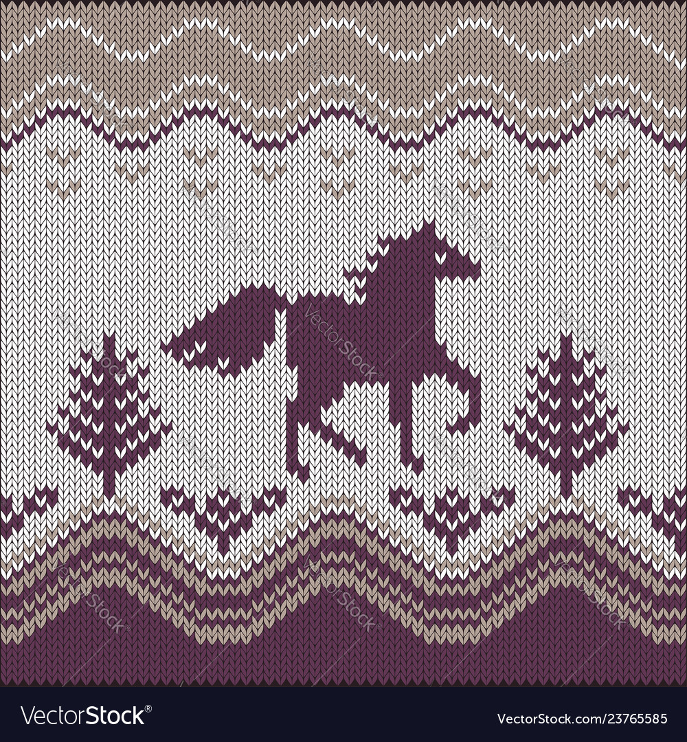 Seamless knitting pattern with horse