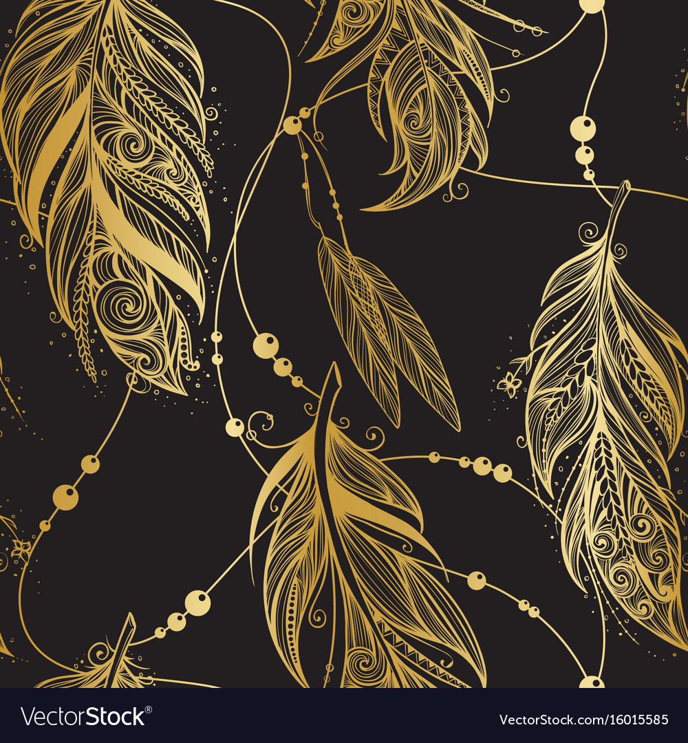 Seamless pattern with golden feathers