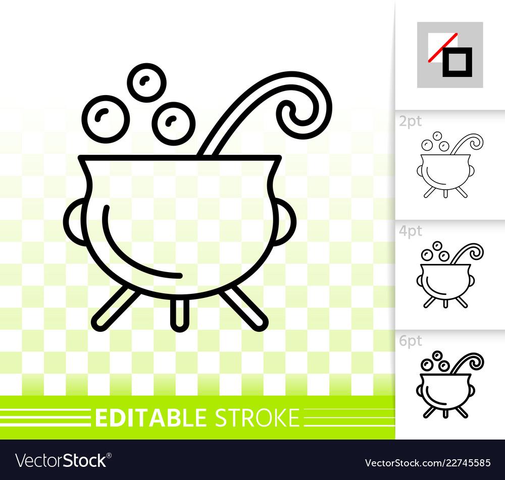 Witch cauldron simple black line icon