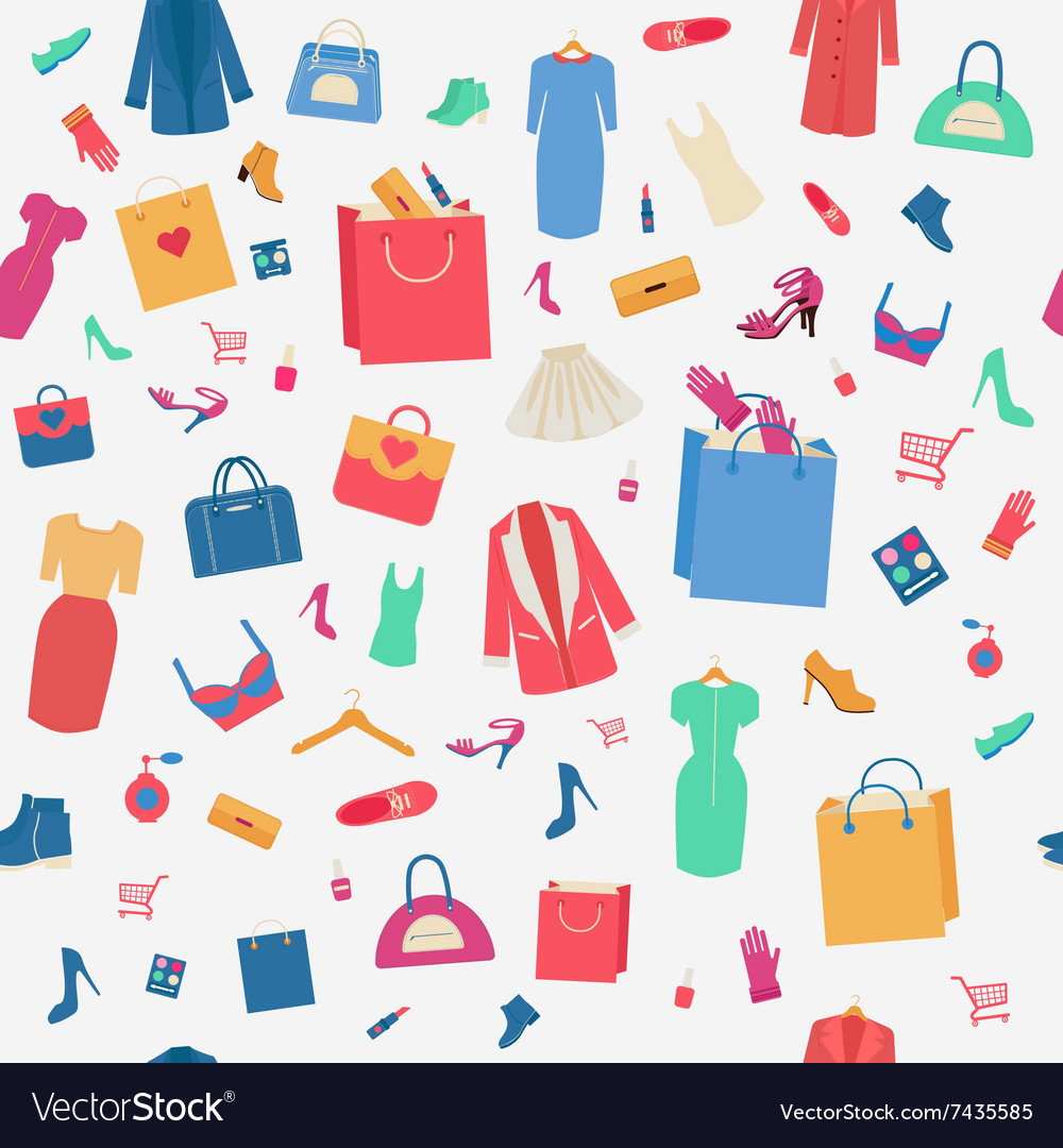 Woman shopping seamless pattern with clothing