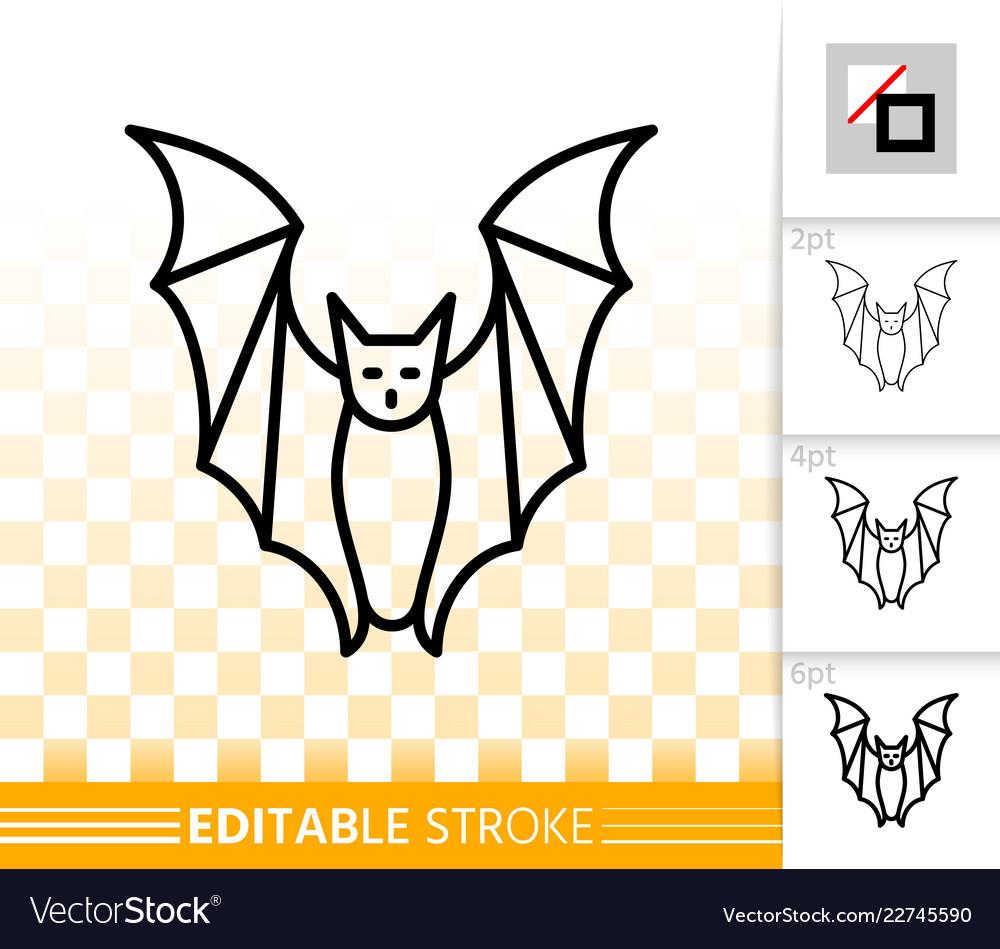 Bat halloween simple black line icon