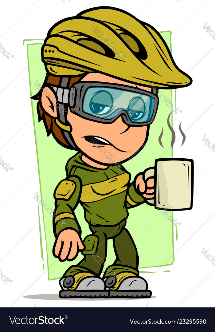 Cartoon cyclist girl character with cup of coffee