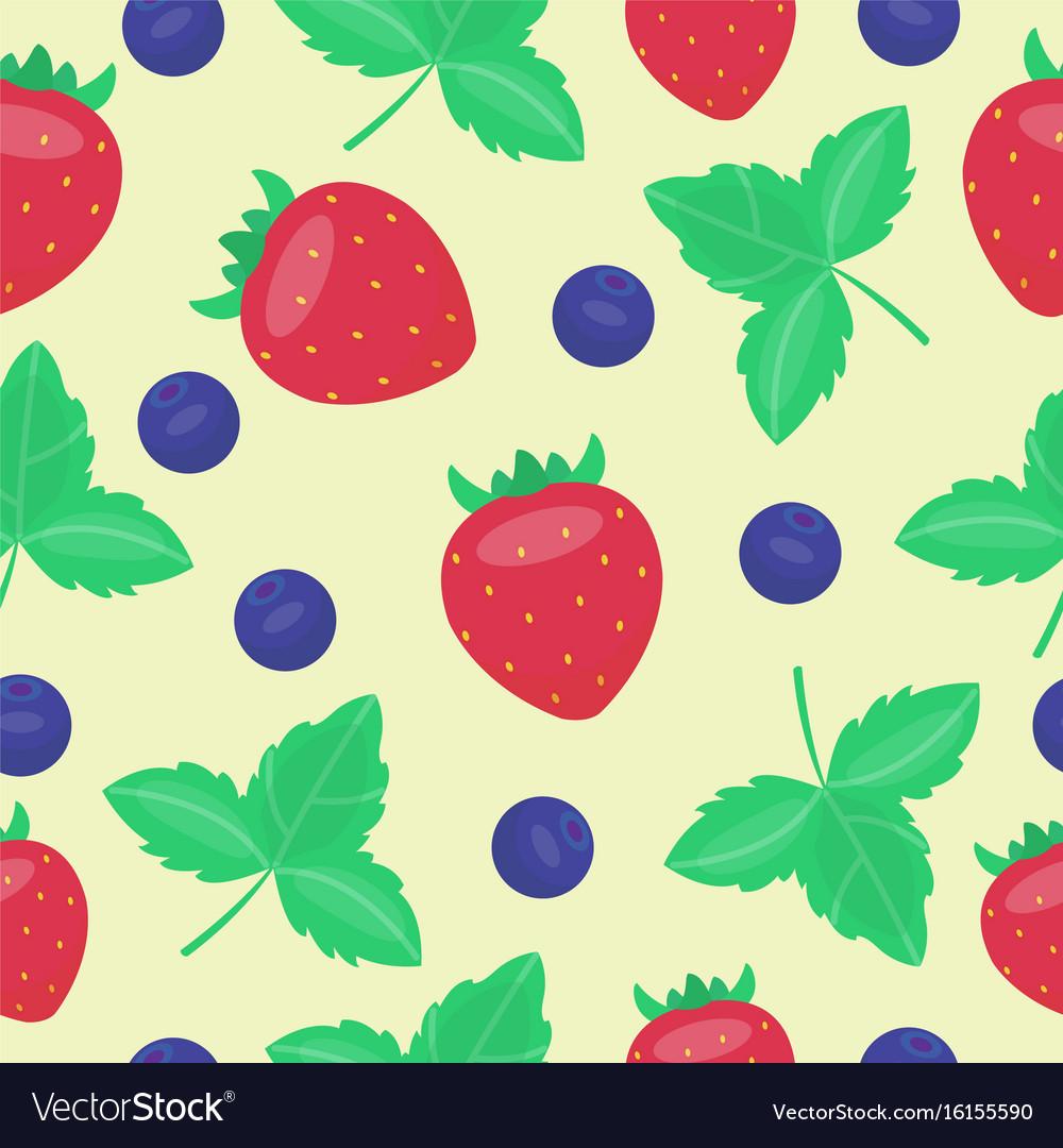 Cartoon fresh strawberry fruits in flat style