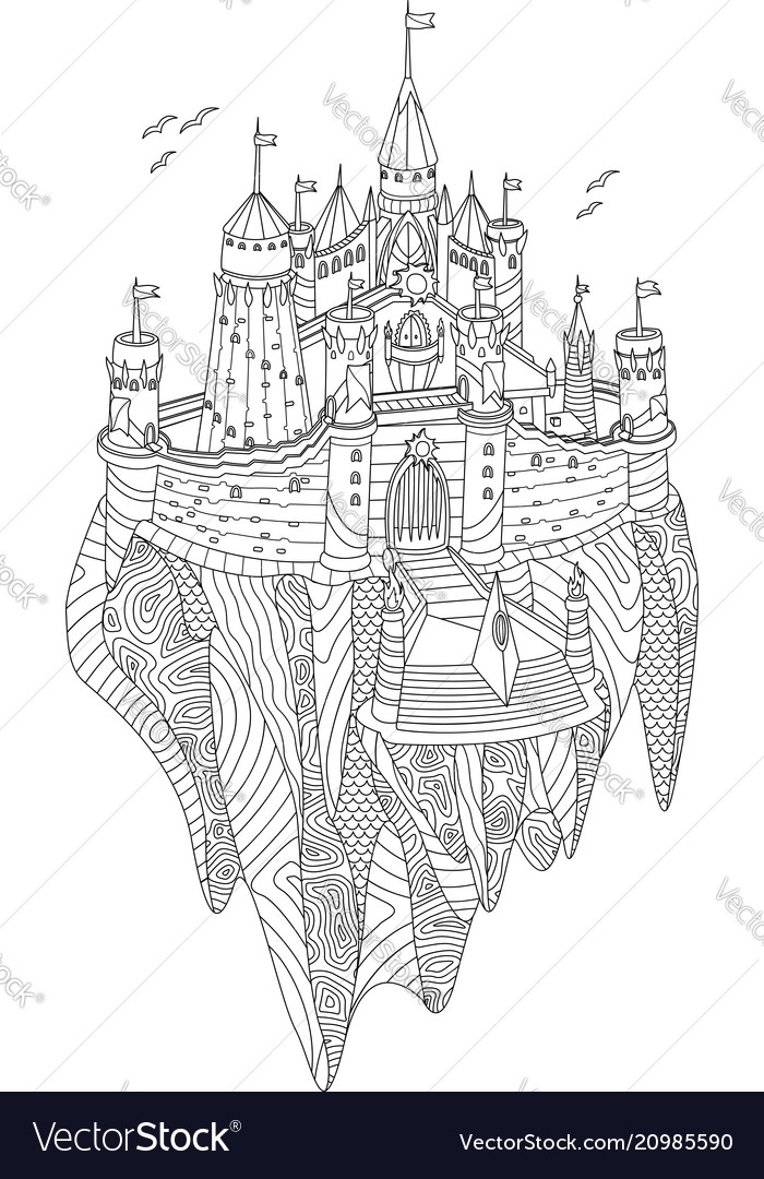 Fantasy castle on a flying island