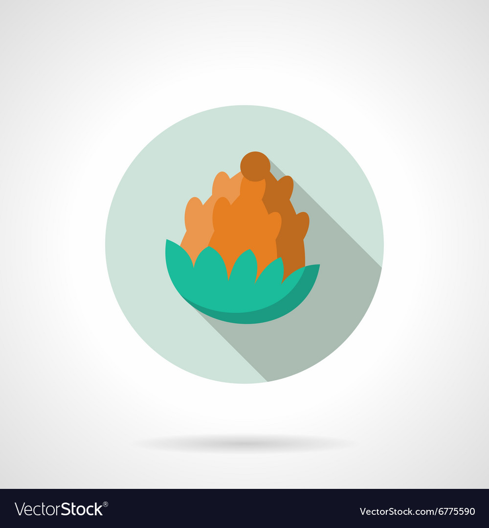 Flat color fir cone round icon