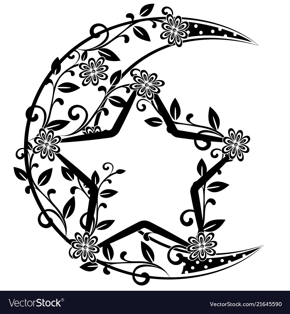 Flourishes with moon and star