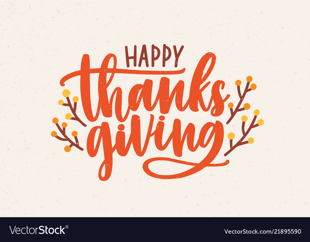 Happy thanksgiving festive phrase handwritten