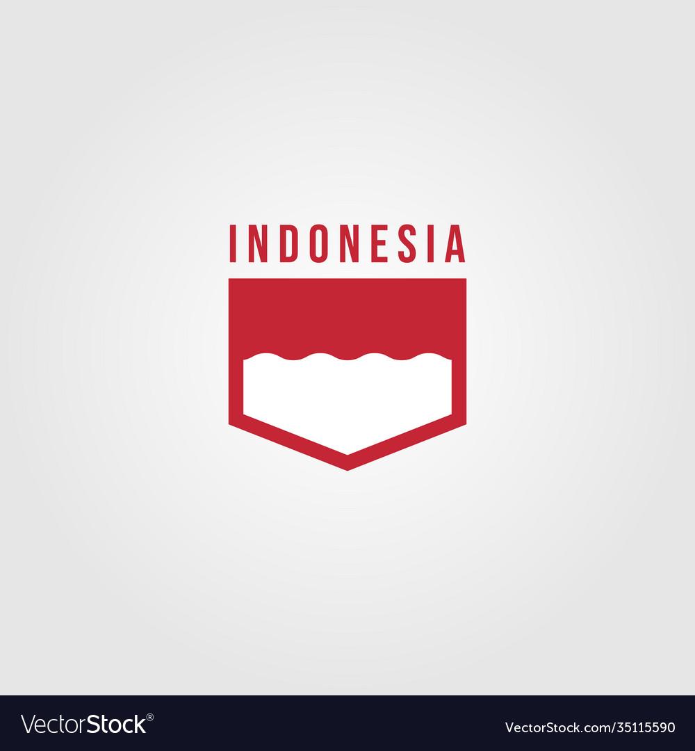 Indonesian flag patch logo symbol design