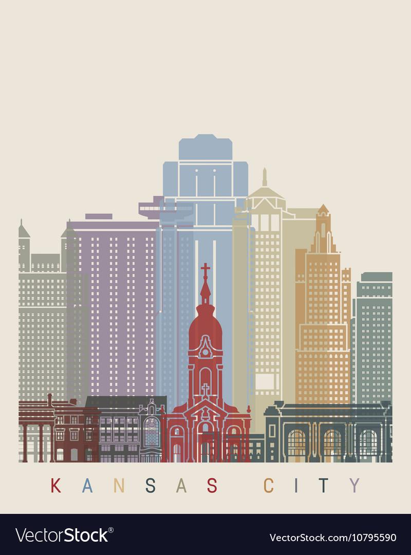 Kansas City skyline poster vector image