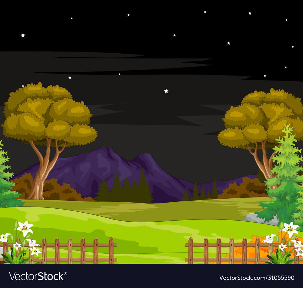 Landscape Grass Field Night View Cartoon Isolated Vector Image Rocco and the gang (episode 1) by kimarzuru. vectorstock