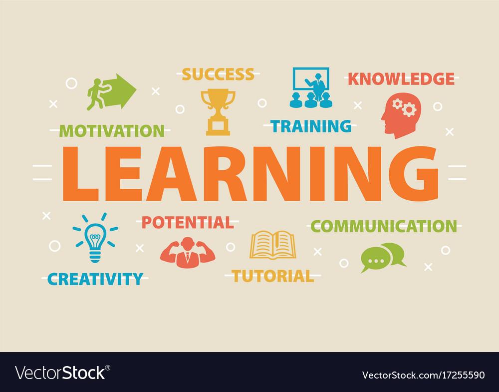 Learning concept with icons vector image