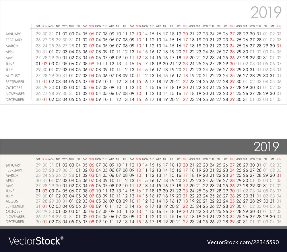 Linear Calendar For 2019 Year Royalty Free Vector Image