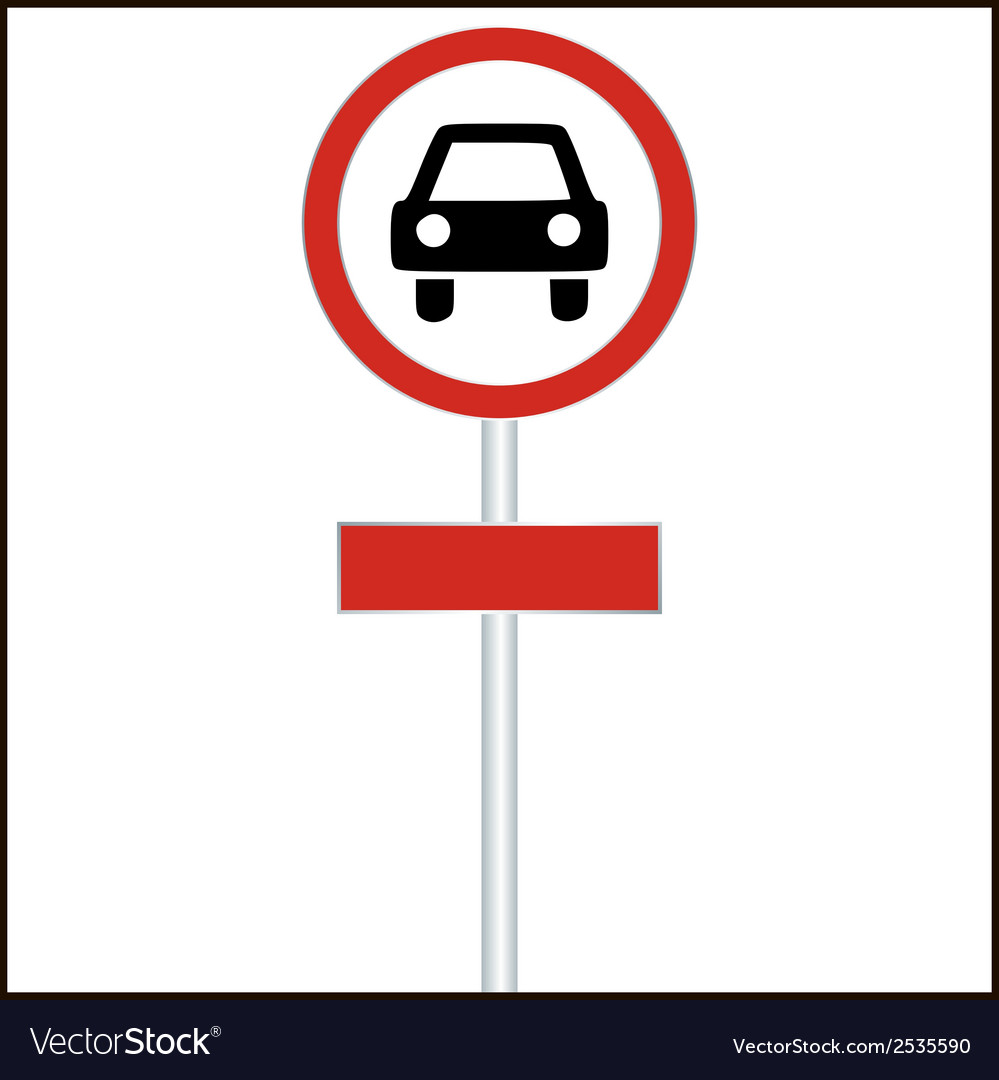 Red Sign with Car vector image