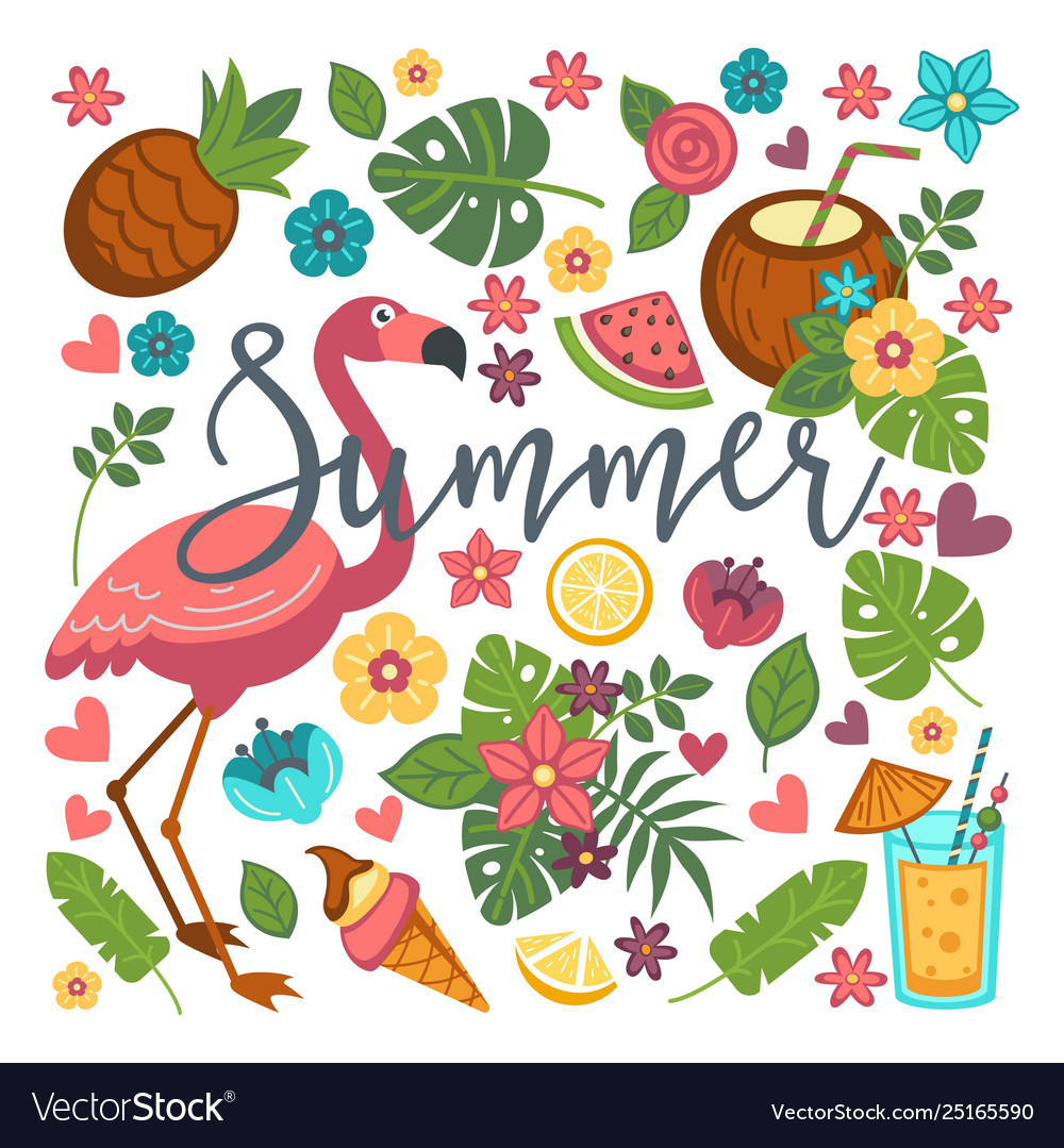 Summer symbols food and drink flamingo and