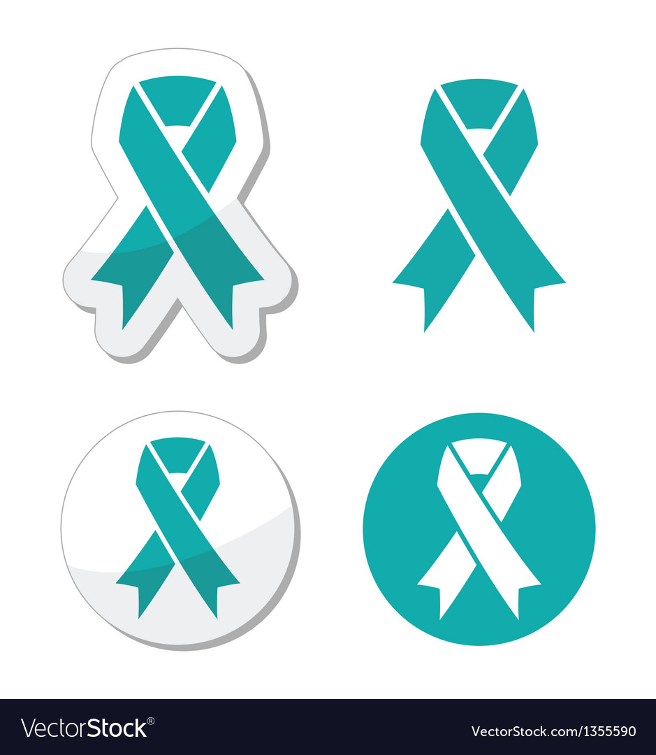 Teal ribbon - ovarian cervical uterine cancer