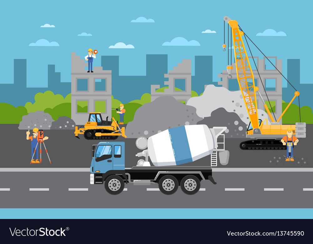 Under construction banner with machinery vector image