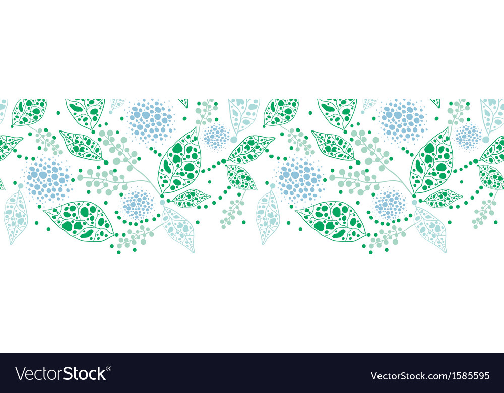 Abstract blue and green leaves horizontal seamless vector image