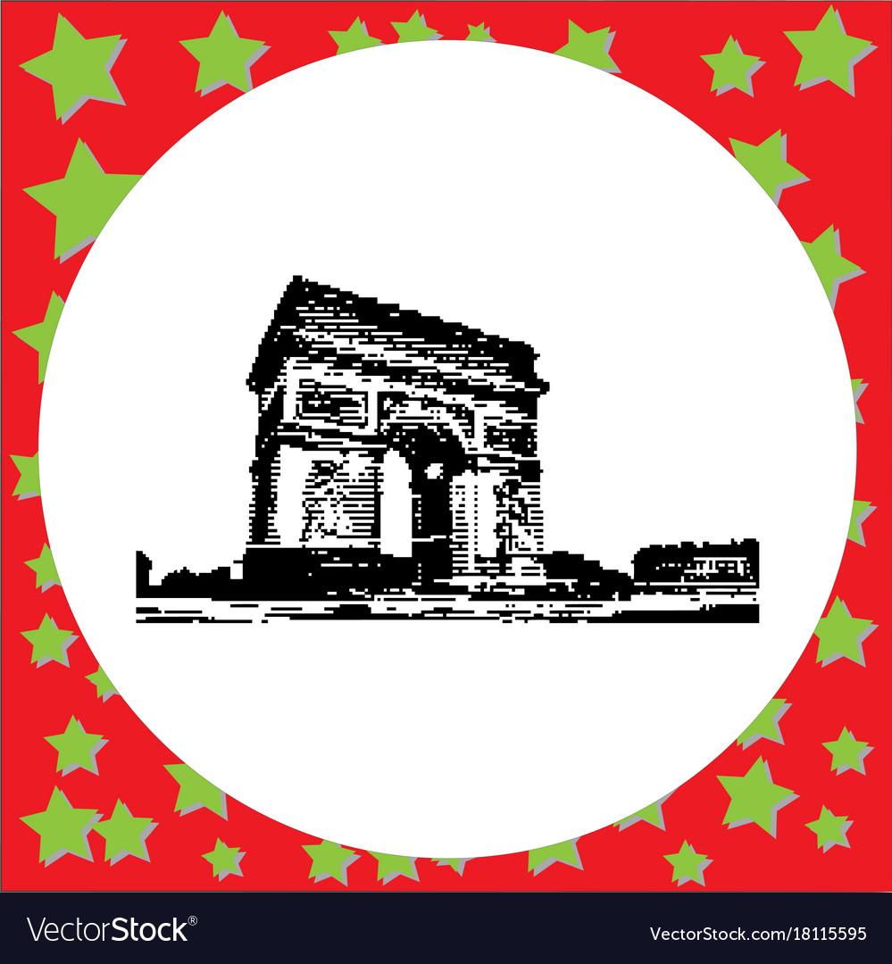 Black 8-bit arc de triomphe at paris france